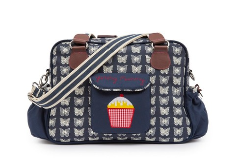 Pink Lining YUMMY MUMMY krémovÍ motýlci na modrém podkladu - přebalovací taška