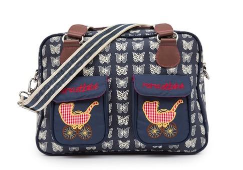 Pink Lining MAMA ET BEBE krémoví motýlci na modrém podkladu - přebalovací taška