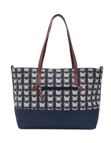 Pink Lining NOTTING HILL krémoví motýlci na modrém podkladu - kabelka i přebalovací taška